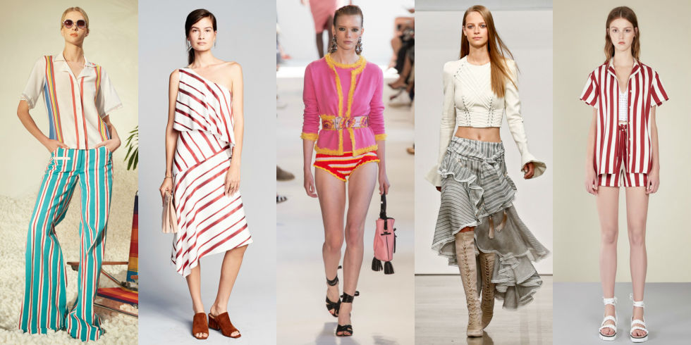 Ripped from beach umbrellas, weathered lounge chairs, and Nantucket awnings, one of the season's major stripe trends fits right in for summer.  Left to Right: Rosie Assouline, Banana Republic, Altuzarra, Zimmermann, RED Valentino
