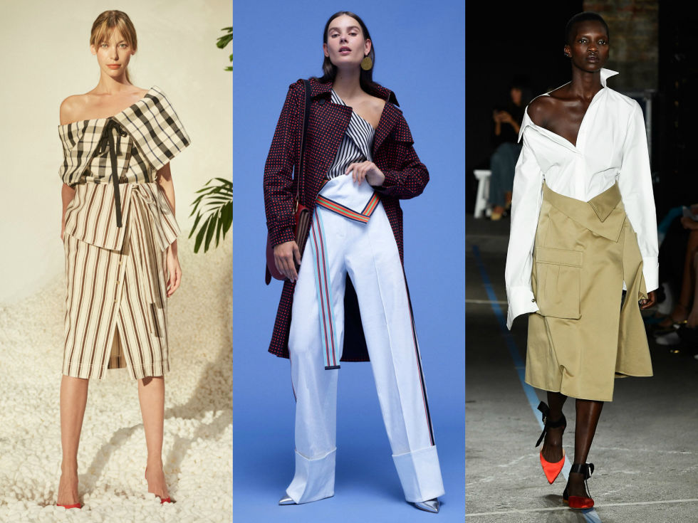 Boring waistlines have been banished for the season in favor of sharp fold over options. You won't be able to wear belts with these, though, so make sure you've got the best tailor on hand, just incase.  Right to Left: Rosie Assoulin, Diane von Furstenberg, Monse