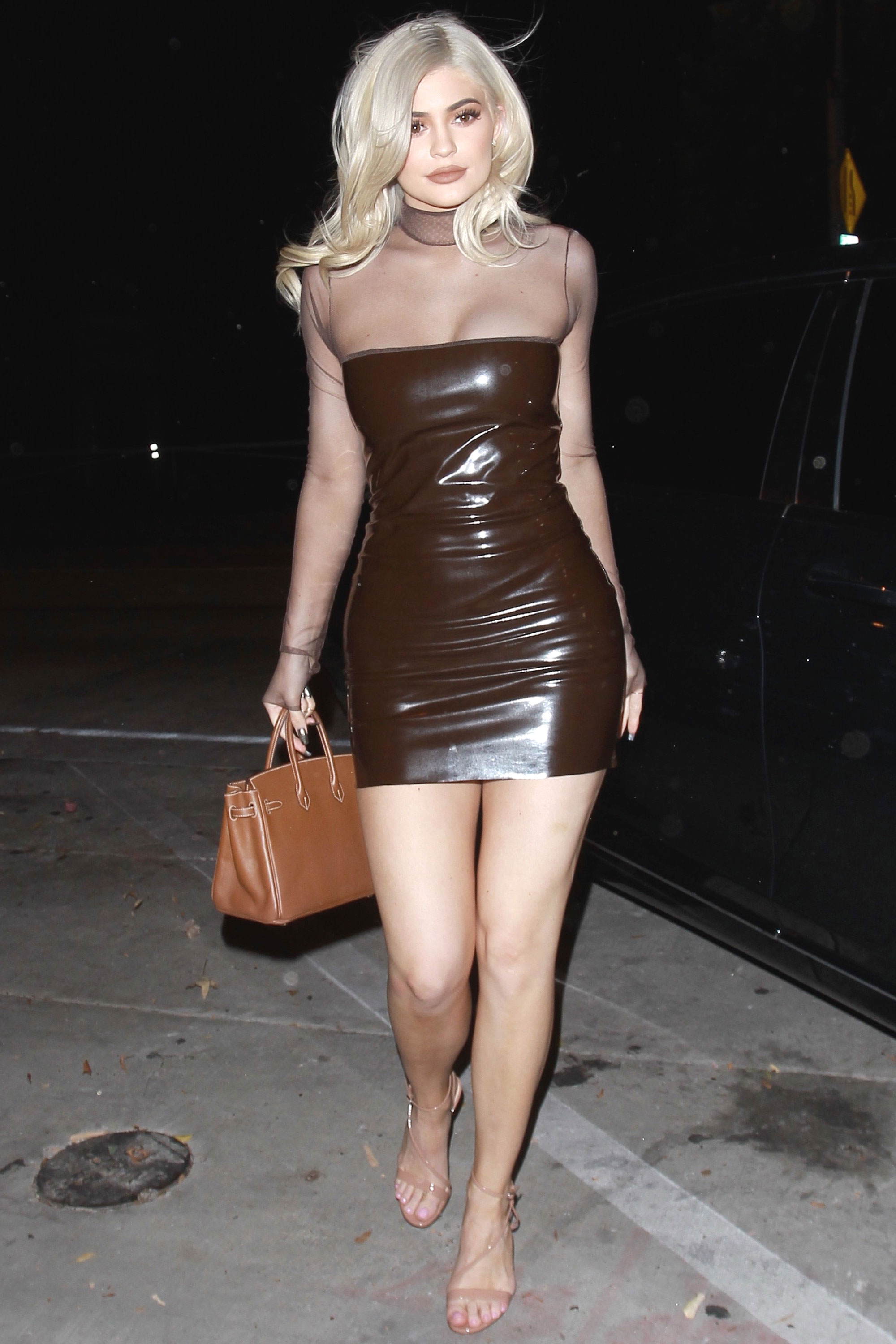 Kylie Jenner Latex Dress In Los Angeles Kylie Jenner