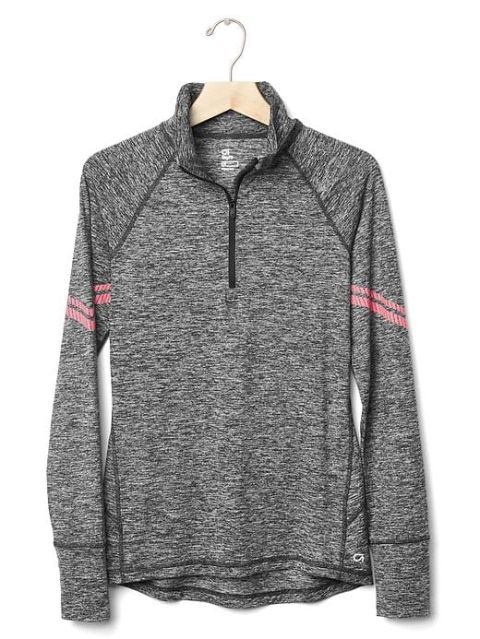 TheGapFit and GapBody Fit for a Cause collections include a range of workout and lounge pieces that will give 15 percentof the purchase price to theBreast Cancer Research Foundation. Gap Half-Zip Pullover, $70; gap.com