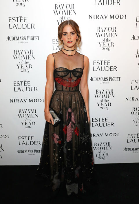 Who: Emma Watson  When: October 31, 2016 Why: We already detailed how Watson's witchy Dior was the perfect Halloween look, so it's no wonder we included her in our best dressed of the week. She donned this outfit, complete with Jessica McCormack jewels, to Harper's Bazaar UK's Women of the Year awards.