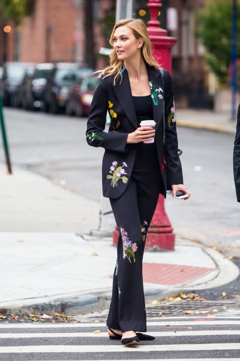 Who: Karlie Kloss  When: November 03, 2016 Why: When a black suit just is too boring, get playful like Kloss. She casually wore a  flower-embellished Stella McCartney number in New York City.