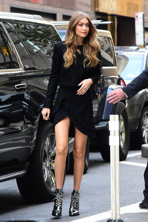 Arriving at fittings for the 2016 Victoria's Secret Fashion Show.