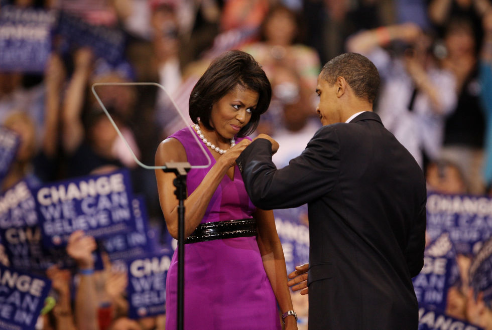 When: June 3, 2008Where: An election night rally in St. Paul, Minnesota after Obama had clinched the Democratic nominationWearing: Maria Pinto sheath, Alaïa belt, pearlsWhy it mattered: It was the first bump seen round the world and the first glimpse of what we could expect from the formidable First Couple—not least because of Michelle's eye-catching ensemble.