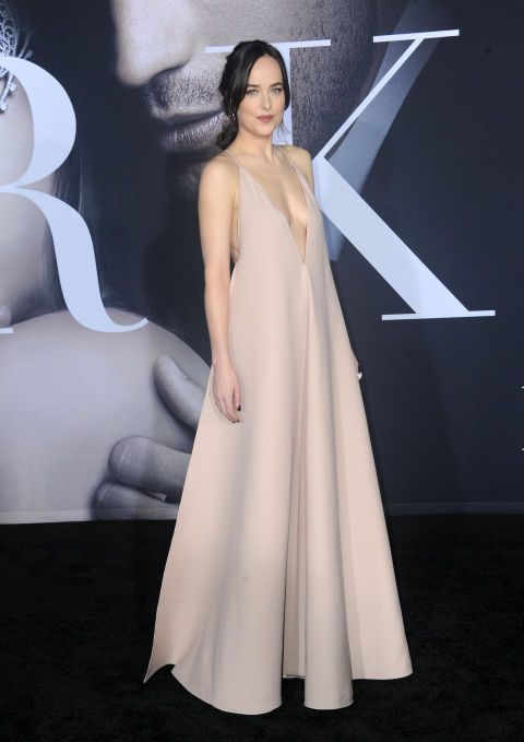 In Valentino at the Fifty Shades Darker Los Angeles premiere.