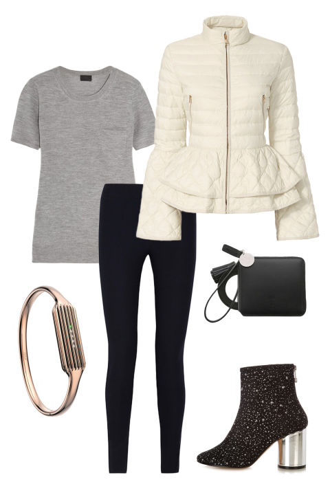 We've all had those days: tons of errands to run followed by big plans for fun later and no time to change in between. Find the balance between comfy and cool by pairing black leggings with a super soft t-shirt and a statement-making (and waist-whittling) puffer jacket. Sleek accessories—like embellished mid-heel booties, a rose gold Fitbit bracelet, and a miniature wristlet purse—dress everything up just enough without looking too precious. J. Crew Cashmere T-Shirt, $90, net-a-porter.com; Helmut Lang Stretch-Twill Leggings, $119, theoutnet.com; Elizabeth Roberts Anne Puffer, $695, intermixonline.com; Joseph & Stacey Oz Round Zip Wallet Slim, $118, wconcept.com; Maison Margiela Glitter-Embellished Ankle Boots, $630, matchesfashion.com; Fitbit Flex 2 and 22K Rose Gold Plated Bangle Accessory, $100 each, fitbit.com