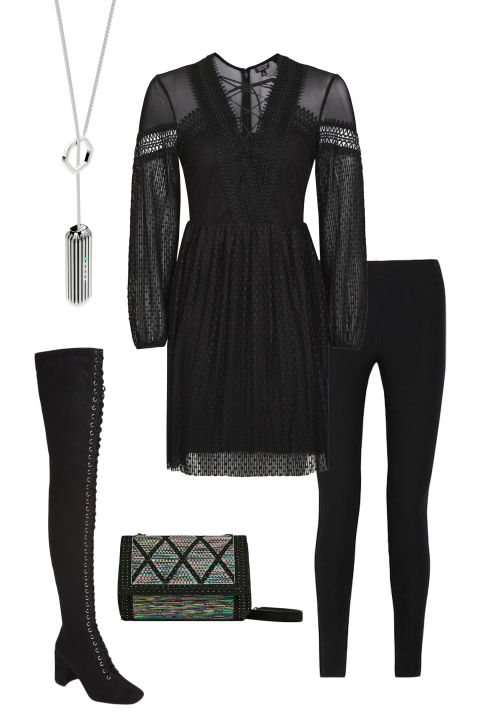 All-black is always chic and ultra flattering. Treat leggings like tights and layer them under a sheer peasant dress. To up the bohemian appeal, pull on thigh-high boots and finish with eye-catching accessories like a patterned clutch and gleaming silver Fitbit lariat.Fitbit Flex 2, $100 and Stainless Steel Pendant Accessory, $80, fitbit.com; TopShop Spot Pleated Skater Dress, $85, topshop.com; Helmut Lang Stretch-Twill Leggings, $119, theoutnet.com; Zara Contrast Fabric Crossbody Bag, $50, zara.com; Free People Laila Thigh High Boot, $228, freepeople.com