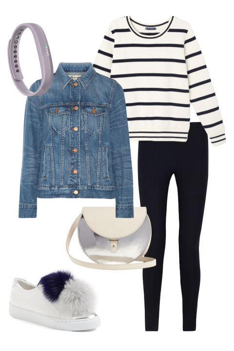 Weekends call for easy-wearing classics, but classics needn't be boring. A striped breton top and denim jacket go from brunch to Barneys easily, while pompom embellished sneakers, a metallic cross body bag, and a sweetly-hued lavender Fitbit add a hit of futuristic, sports-inspired cool. Fitbit Flex 2, $100, fitbit.com; Madwell Classic Jean Denim Jacket, $120, net-a-porter.com; Petit Bateau Women's Striped Sweatshirt, $55, petit-bateau.com; Helmut Lang Stretch-Twill Leggings, $119, theoutnet.com; PB 0110 AB21 Leather Cross-Body Bag, $600, matchesfashion.com; Here/Now Arian Genuine Fox Fur Trim Sneaker, $240, nordstrom.com