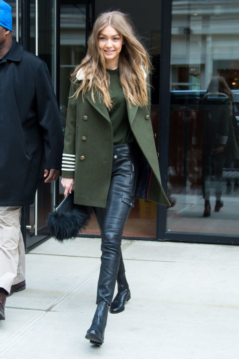 Out in New York City in Frame leather pants.