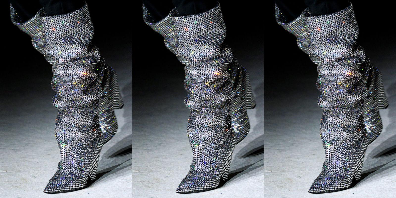 Rihanna Wears Knee High Glitter Boots From Saint Lauren