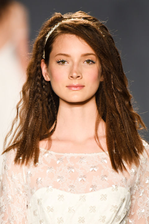 Fulfill your middle school dreams and crimp your hair for your big day, inspired by Jenny Packham.