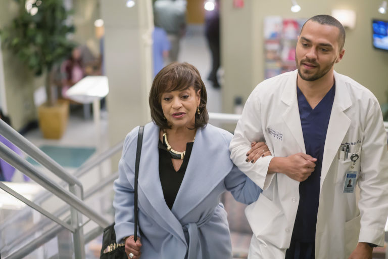 Debbie Allen (Dr Catherine Avery) and Jesse Williams (Dr Jackson Avery) on 'Grey's Anatomy'