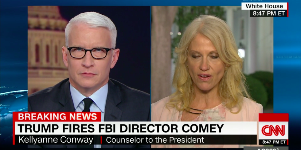 Anderson Cooper and Kellyanne Conway on CNN