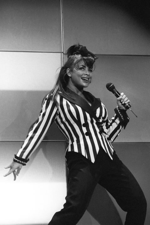Paula Abdul performing at the Oakland Coliseum Arena on December 13, 1991