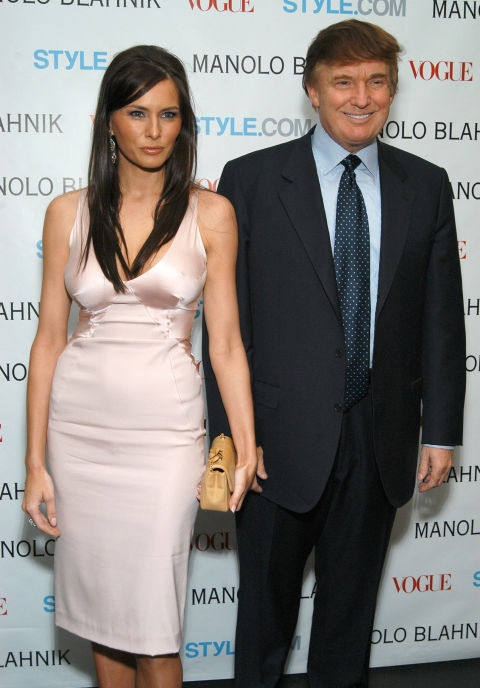 Melania Knauss and Donald Trump during Launch Party For Manolo Blahnik Exhibition Hosted by Anna Wintour and Candy Pratts Price Presented by Style.com at Phillips, de Pury & Luxembourg in New York City, New York, United States.