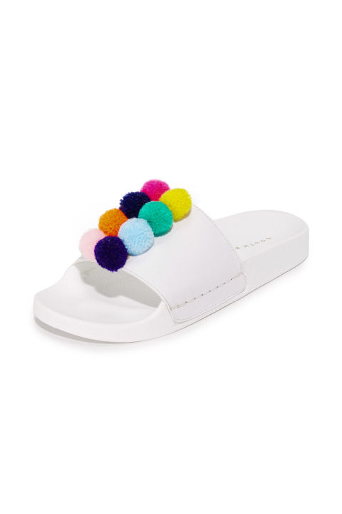 Salt and sand make leather sandals a no-go. A quirky take on classic pool slides can handlethe elements.One by South Parade Footwear Slides, $85; shopbop.com