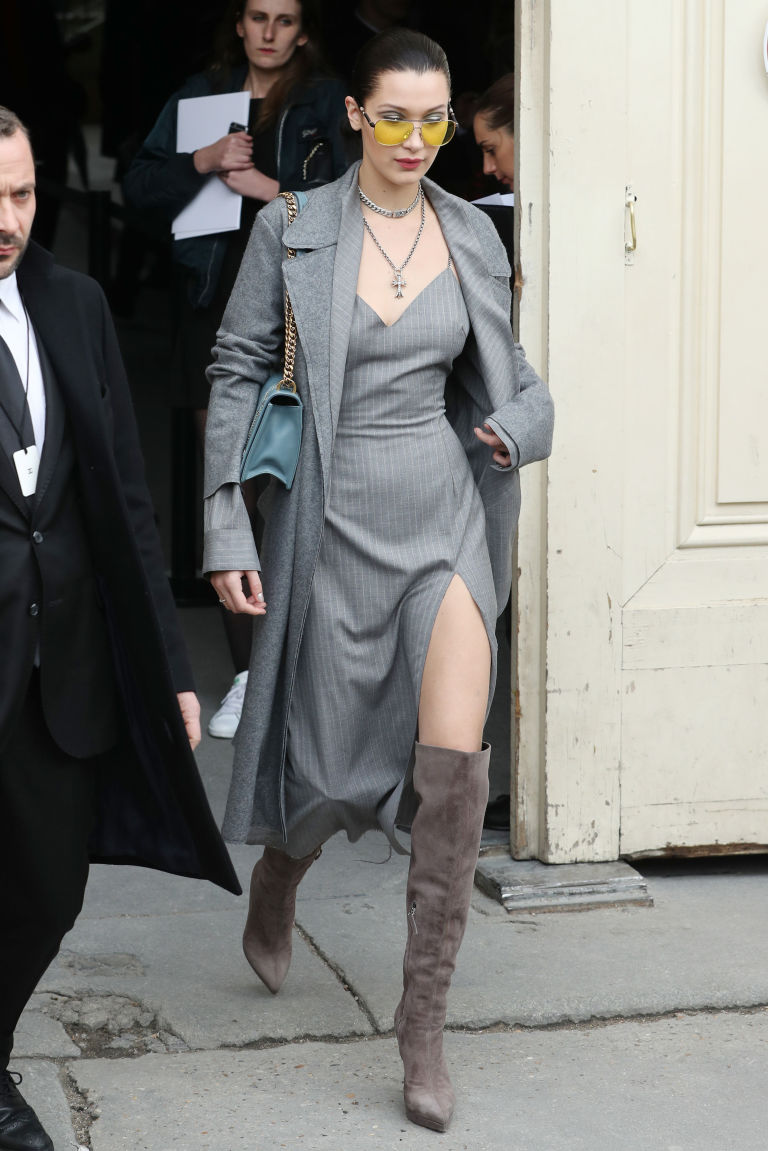 Bella Hadid leg slit, Chanel show, Arrivals, Autumn Winter 2017, Paris Fashion Week, France - 07 Mar 2017