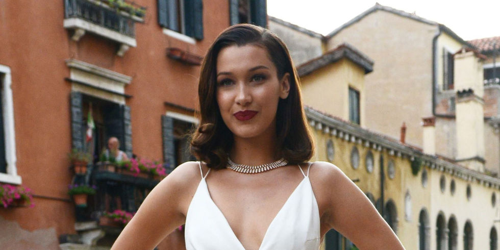 Bella Hadid channels Marilyn Monroe in leg slit dress