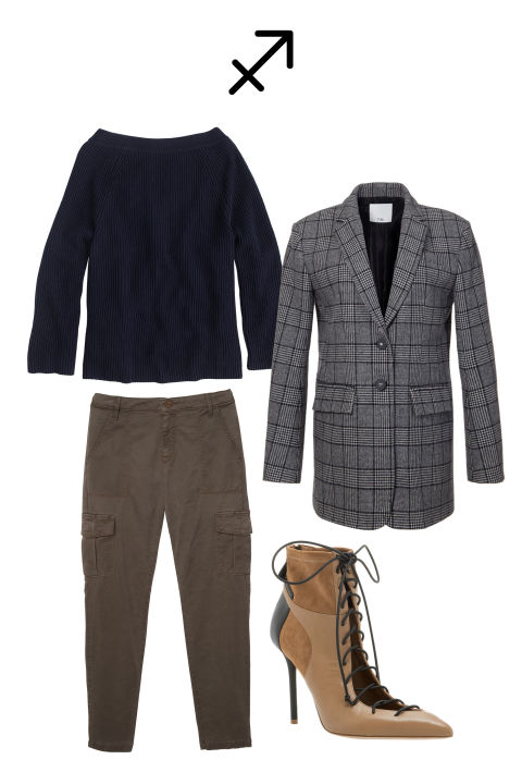 An outsized goal is in your crosshairs as industrious Saturn wraps a three-year tour through your sign this December 19. This cycle, which began in December 2014, is akin to astrological boot camp. And now, the finish line is in sight. Keep your shoulders backin a menswear-inspired, oversized blazer. The (glass) ceiling can't hold you down!Shop the look: Tibi Alridge Blazer, $795, tibi.com; Sanctuary Bootcamp Cargo, $129, sanctuaryclothing.com; Malone Souliers Ankle Boots, $725, modaoperandi.com; J.Crew Sweater, $60, jcrew.com