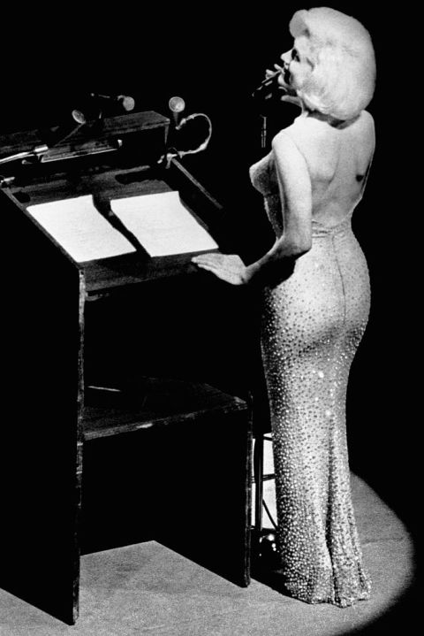 In 1961, this gown was designed by Jean-Louis Berthaulto specifically for Monroe's Madison Square Garden performance of