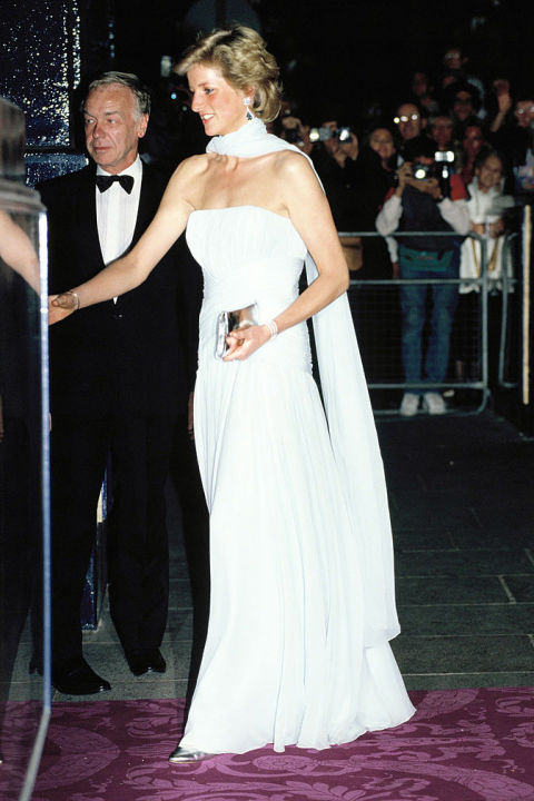 The late Princess Diana wore this Catherine Walker silk chiffon evening gown three times: once during a portrait sitting with photographer Terence Donovan, to an opera premiere in 1989 and again at the 1997 Cannes Film Festival. It has been auctioned off with a winning bid of over $137,000. Shop a similar look: Blue chiffon gown, $38, asos.com