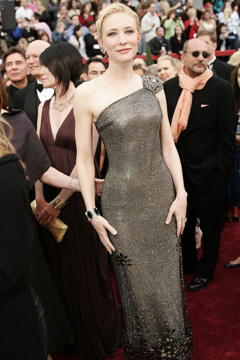 At the 2007 Oscars, Blanchett wore a one-shouldered silver Armani Prive dress. All that shimmer (from Swarovski crystals) was worth $200,000. Shop a similar look: Sequined one-shoulder gown, $180, milanoo.com
