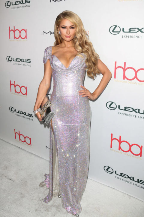 Hilton wore this $270,000 August Getty gown, studded with 500,000 Swarovski crystals, to the Hollywood Beauty Awards this year. Shop a similar look: Sleeveless sequin gown, $47, nordstrom.com