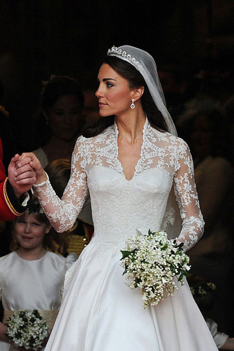 The Duchess of Cambridge always looks stunning, but she really wowed us at the 2011 Royal Wedding. Kate's dress, a lace-sleeved gown with an elegant train designed by Sarah Burton, cost $400,000. Shop a similar look: Long sleeve, low-back wedding dress, $549, davidsbridal.com