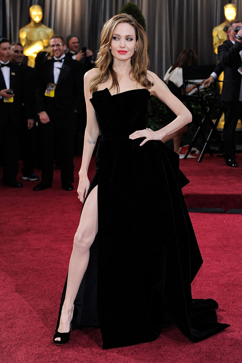 Image result for angelina jolie black dress designer
