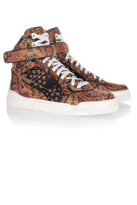 Givenchy Printed Silk-Twill High-Top Sneakers, $595; forwardforward.com