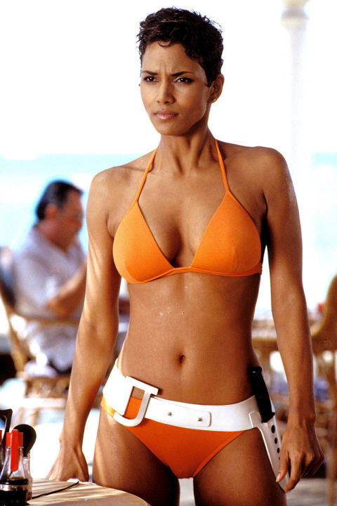 But the best homage to Ursula Andress's swimsuit in Dr. No is this tangerine bikini from Eres that Halle Berry wore as the modern-day Bond Girl, Jinx.