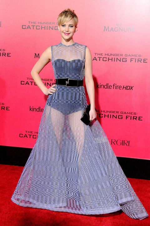 In Christian Dior At the Los Angeles premiere of The Hunger Games: Catching Fire.