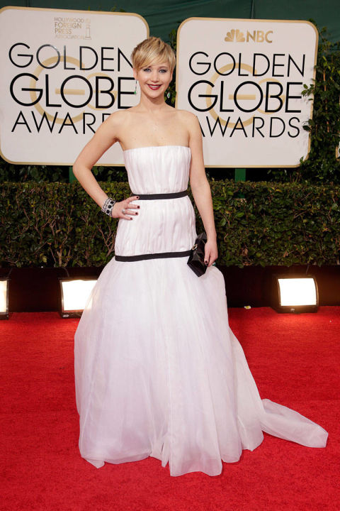 In Christian Dior at the Golden Globe Awards.