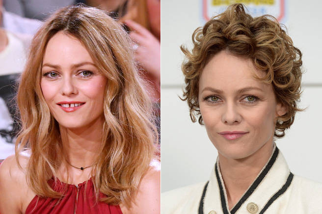 French beauty Vanessa Paradis took chopping your hair off after a breakup to a whole new level, popping up after her split with Johnny Depp with a curly pixie cut. She was almost unrecognizable at first, but there is no mistaking that gorgeous gap tooth smile.