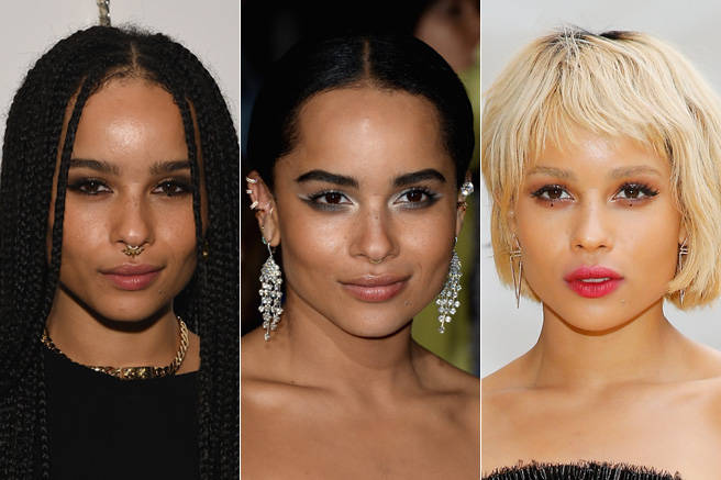 Zoë Kravitz is a beauty chameleon: She goes from blonde to brunette, from a bob to long braids, all in-between red carpet appearances. (But our favorite look is probably when she rocks those delicate dots underneath her eyes.)