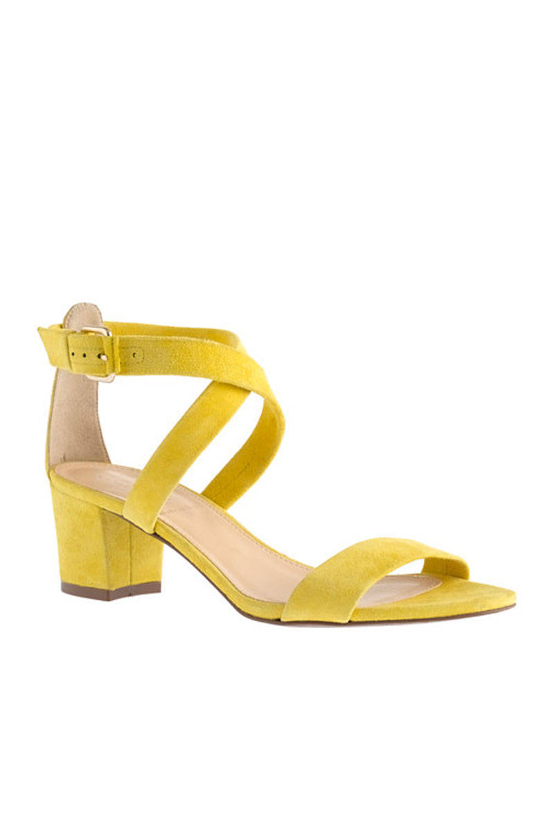Yellow Mid Heel Sandals - Is Heel