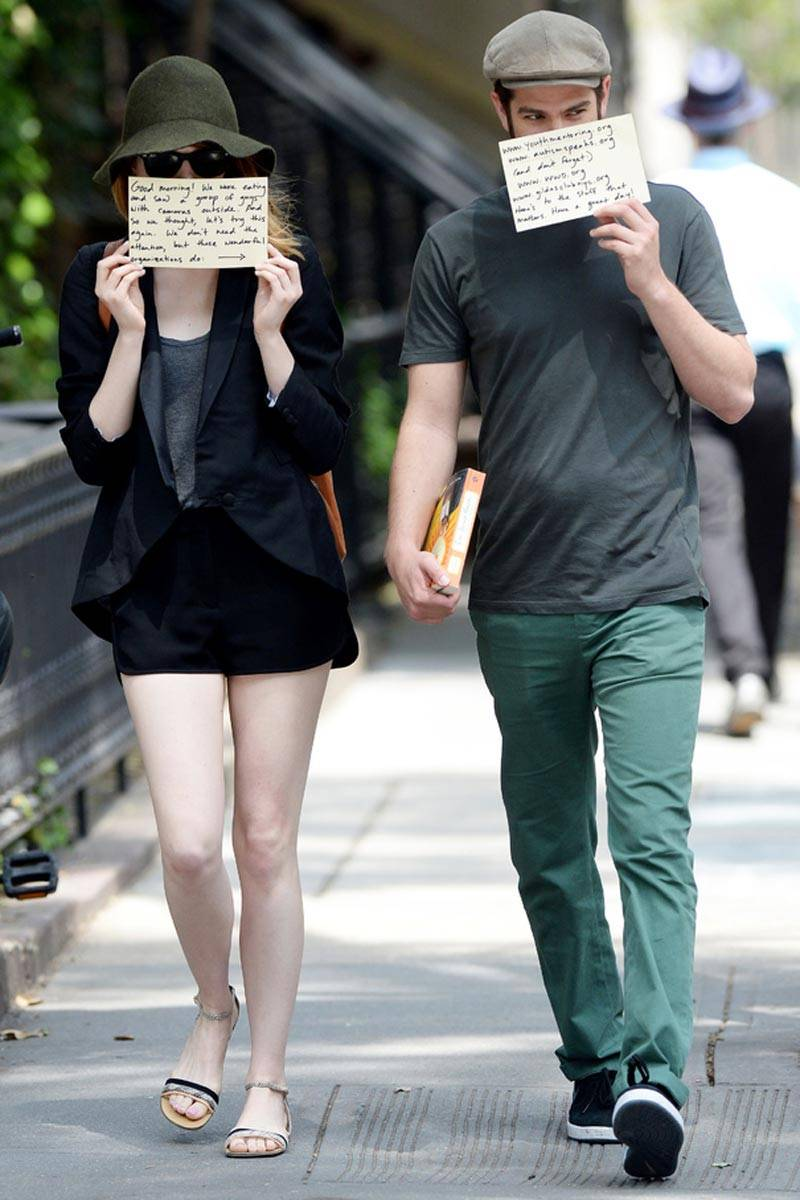 Andrew Garfield and Emma Stone Use Paparazzi to Promote Charities pics