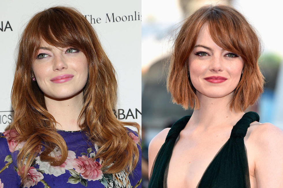 We're used to Emma Stone constantly going from red to blonde, bangs to no bangs, but this year she pleasantly surprised us with an adorable choppy bob.