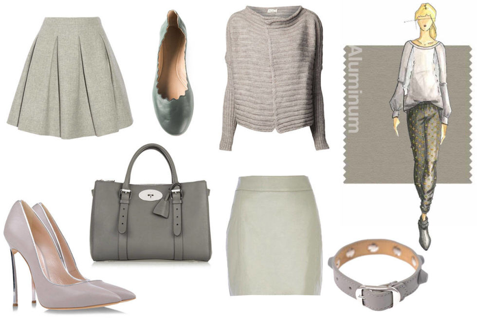 Mulberry The Bayswater Double Zip Textured-Leather Tore, $2,725; net-a-porter.com River Island Light Grey Leather High Waisted Skirt, $70; riverisland.comMiu Miu Pleated Wool Mini Skirt, $945; net-a-porter.com    Chloé Lauren Ballerinas, $428.68; farfetch.com    Ma'ry'ya Scoop Neck Cardigan, $297; farfetch.com Casadei Closed Toe Pump, $740; shoescribe.com Balenciaga Rubber Studded Leather Bracelet, $225; matchesfashion.com