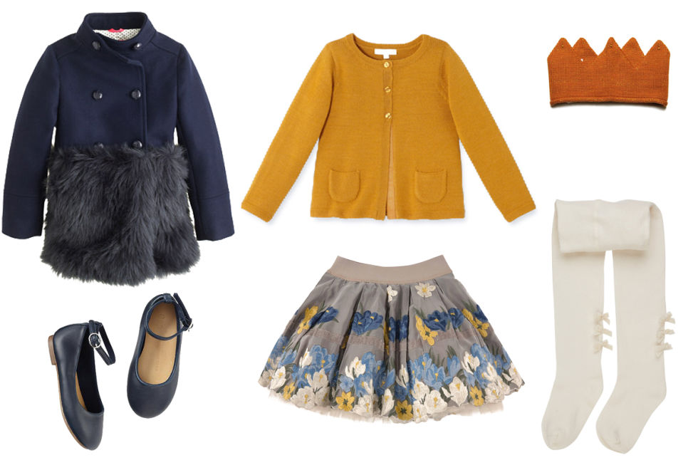 J.Crew Furry Trim Peacoat, $248; jcrew.comJacadi Open Front Cardigan, $78; jacadi.usMonnalisa Embroidered Taffeta Skirt, $226; melijoe.comGap Ankle-Strap Ballet Flats, $22; gap.comLili Gaufrette Ribbed Tights With Bows, $38; barneys.comOlive Juice Oeuf Crown, $38; olivejuice.com
