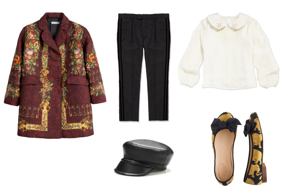 Dolce & Gabbana Printed Brocade Coat With a Silken Lining, $1,137; melijoe.comCharabia Peter Pan-Collar Blouse, $205; neimanmarcus.comMarie-Chantal Tux Pant, $149; mariechantal.comGucci Kid's Leather Cap, $395; Gucci.comJ.Crew Elephant Parade Ballet Flats, $148; jcrew.com
