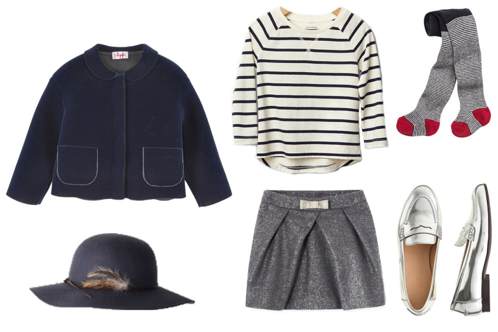 Il Gufo Navy Blue Stretch Velvet Jacket, $108; melijoe.comJacadi Metallic Pleated Skirt, $100; jacadi.usPetit Bateau Milleraies Jersey Pantyhose, $31; petitbateau.usJ.Crew Mirror Metallic Penny Loafers, $168; jcrew.comBonpoint Wide-Brimmed Hat, $145; bonpoint.com Gap Printed Tunic Top, $9; gap.com