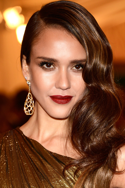 Dark Red Lipstick - Jessica Alba Makeup