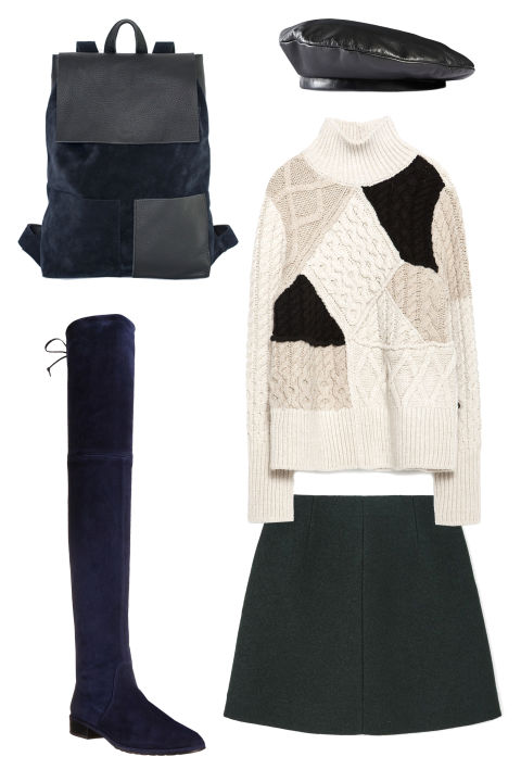 Mum & Co. Backpack II, $320; mumand.coStuart Weitzman The Lowland Boot, $798; stuartweitzman.comGucci Leather Beret, $410; gucci.comZara Cable Knit Patchwork Sweater, $70; zara.comCos A-Line Wool Skirt, $59; cosstores.com