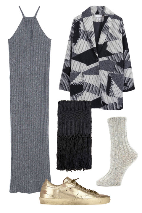 Zara Long Striped Dress, $30; zara.comNative Youth Geo Jacquard Coat, $240; native-youth.comTopshop Cable Knit Scarf, $30; topshop.comGolden Goose Superstar Sneakers, $550; barneys.comForever 21 Speckled Marled Socks, $5; forever21.com