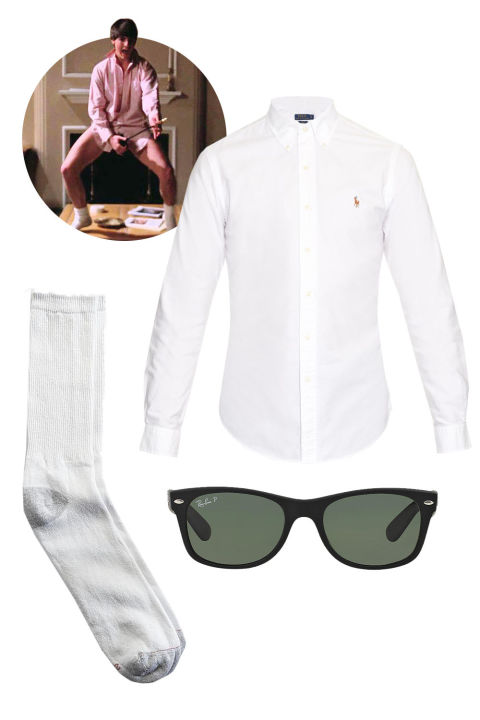 """My last-minute Halloween costume is always Tom Cruise from the famous Risky Business scene: An oversize men's shirt, sunglasses, and white tube socks.""Polo Ralph Lauren Slim-Fit Oxford Shirt, $90; matchesfashion.comHanes Men Sport Crew Socks, $7; kmart.comRay-Ban New Wayfarer, $180; sunglasshut.com"