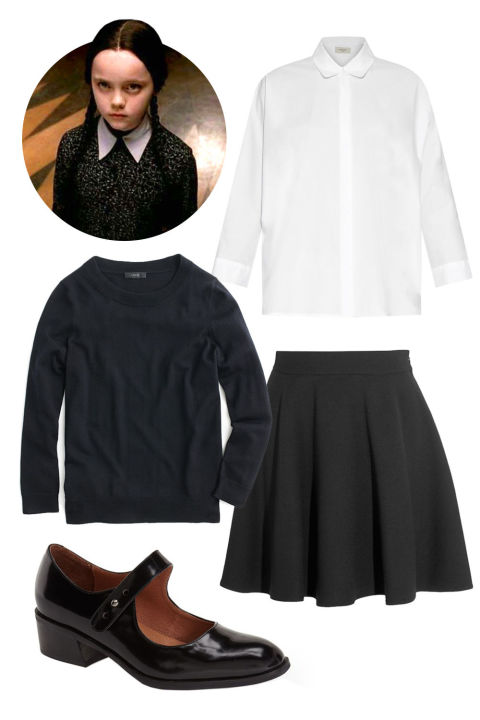 """Wednesday Addams from The Addams Family! All you need are some basics, braided pigtails, and some major RBF.""J. Crew Tippi Sweater, $80; jcrew.comMiu Miu A-Line Wool-Crepe Mini Skirt, $930; net-a-porter.comWeekend Max Mara Kassel Shirt, $235; matchesfashion.comJeffrey Campbell Maribel Mary Jane Pump, $150; shop.nordstrom.com"