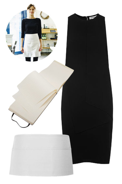 """A diner waitress: Wear a black dress, a white apron, carry a notepad, and call everyone hun.""Whistles Claire Layered Dress, $270; whistles.comWhite Waist Apron, $4; apronwarehouse.comMoleskin Reporter Notebook, $14; store.moleskin.com"