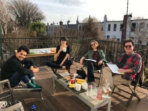 The cast of Celestial Blood rehearsing in Brooklyn