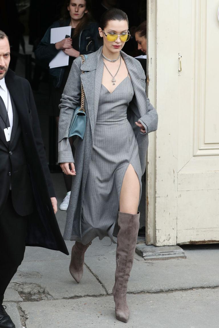 Bella Hadid leg slit, Chanel show, Arrivals, Autumn Winter 2017, Paris Fashion Week, France - 07 Mar 2017